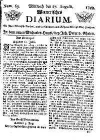 Titelseite der Ausgabe Nr. 69, 27. August 1749