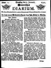 Titelseite der Ausgabe Nr. 1, 3. Jänner 1750