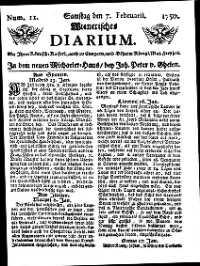 Titelseite der Ausgabe Nr. 11, 7. Februar 1750