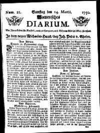 Titelseite der Ausgabe Nr. 21, 14. März 1750