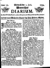 Titelseite der Ausgabe Nr. 52, 1. Juli 1750