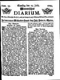 Titelseite der Ausgabe Nr. 59, 25. Juli 1750