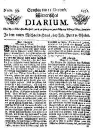 Titelseite der Ausgabe Nr. 99, 11. Dezember 1751
