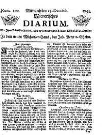Titelseite der Ausgabe Nr. 100, 15. Dezember 1751
