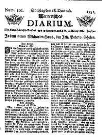 Titelseite der Ausgabe Nr. 101, 18. Dezember 1751