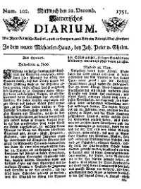 Titelseite der Ausgabe Nr. 102, 22. Dezember 1751