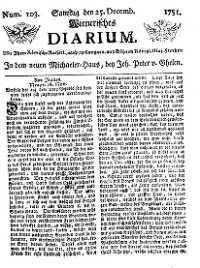 Titelseite der Ausgabe Nr. 103, 25. Dezember 1751