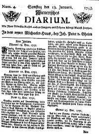 Titelseite der Ausgabe Nr. 4, 13. Jänner 1753