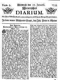 Titelseite der Ausgabe Nr. 5, 17. Jänner 1753