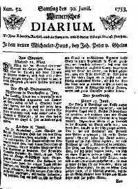 Titelseite der Ausgabe Nr. 52, 30. Juni 1753