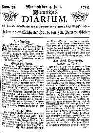 Titelseite der Ausgabe Nr. 53, 4. Juli 1753