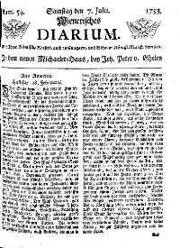Titelseite der Ausgabe Nr. 54, 7. Juli 1753