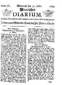 Titelseite der Ausgabe Nr. 61, 31. Juli 1754