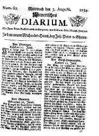 Titelseite der Ausgabe Nr. 62, 3. August 1754