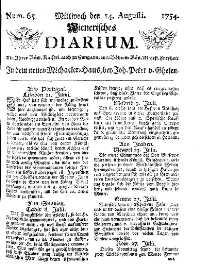 Titelseite der Ausgabe Nr. 65, 14. August 1754
