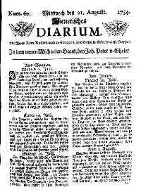 Titelseite der Ausgabe Nr. 67, 21. August 1754