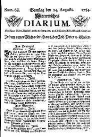 Titelseite der Ausgabe Nr. 68, 24. August 1754