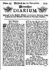 Titelseite der Ausgabe Nr. 99, 10. Dezember 1755