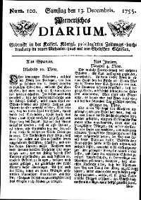 Titelseite der Ausgabe Nr. 100, 13. Dezember 1755