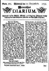 Titelseite der Ausgabe Nr. 101, 17. Dezember 1755