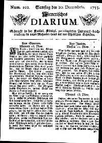 Titelseite der Ausgabe Nr. 102, 20. Dezember 1755