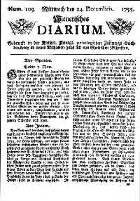 Titelseite der Ausgabe Nr. 103, 24. Dezember 1755