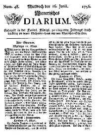 Titelseite der Ausgabe Nr. 48, 16. Juni 1756