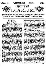 Titelseite der Ausgabe Nr. 50, 23. Juni 1756