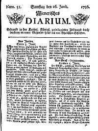 Titelseite der Ausgabe Nr. 51, 26. Juni 1756