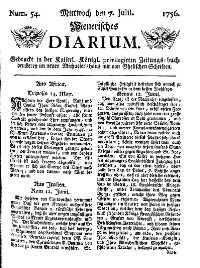 Titelseite der Ausgabe Nr. 54, 7. Juli 1756