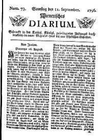 Titelseite der Ausgabe Nr. 73, 11. September 1756