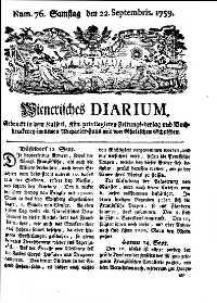 Titelseite der Ausgabe Nr. 76, 22. September 1759