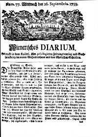 Titelseite der Ausgabe Nr. 77, 26. September 1759