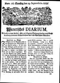 Titelseite der Ausgabe Nr. 78, 29. September 1759