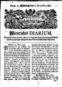 Titelseite der Ausgabe Nr. 1, 2. Jänner 1760