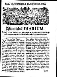 Titelseite der Ausgabe Nr. 75, 17. September 1760