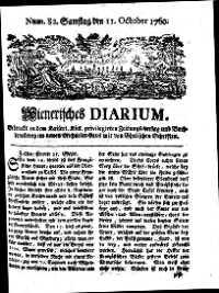 Titelseite der Ausgabe Nr. 82, 11. Oktober 1760