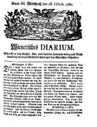 Titelseite der Ausgabe Nr. 86, 28. Oktober 1761