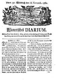 Titelseite der Ausgabe Nr. 92, 18. November 1761