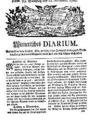 Titelseite der Ausgabe Nr. 93, 21. November 1761