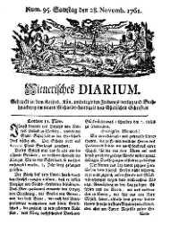 Titelseite der Ausgabe Nr. 95, 28. November 1761