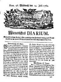 Titelseite der Ausgabe Nr. 56, 14. Juli 1762