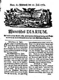Titelseite der Ausgabe Nr. 60, 28. Juli 1762
