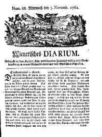 Titelseite der Ausgabe Nr. 88, 3. November 1762