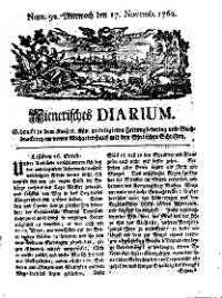 Titelseite der Ausgabe Nr. 92, 17. November 1762