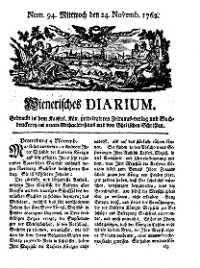 Titelseite der Ausgabe Nr. 94, 24. November 1762