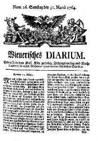 Titelseite der Ausgabe Nr. 26, 31. März 1764