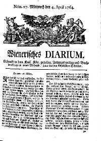 Titelseite der Ausgabe Nr. 27, 4. April 1764