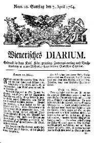 Titelseite der Ausgabe Nr. 28, 7. April 1764