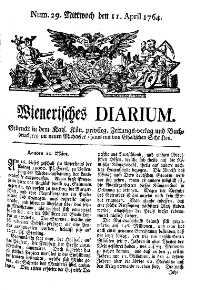 Titelseite der Ausgabe Nr. 29, 11. April 1764